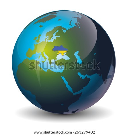 Ukraine on globe icon