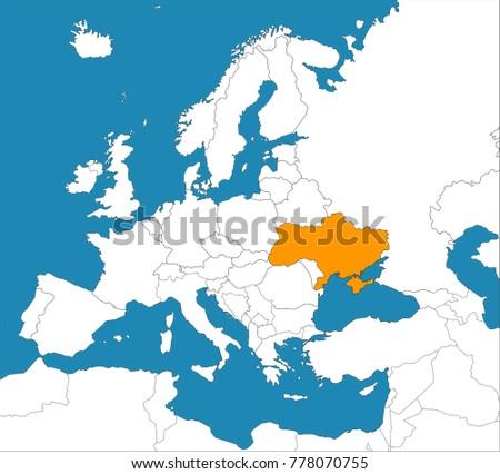 Ukraine On Map Europe Vector Illustration Stock Vector 778070755