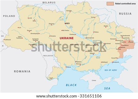 ukraine rebel controlled area map - stock vector