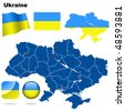 Ukraine vector set. Detailed country shape with region borders, flags and icons isolated on white background. - stock photo