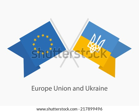 Ukrainian and Europe Union flags - stock vector