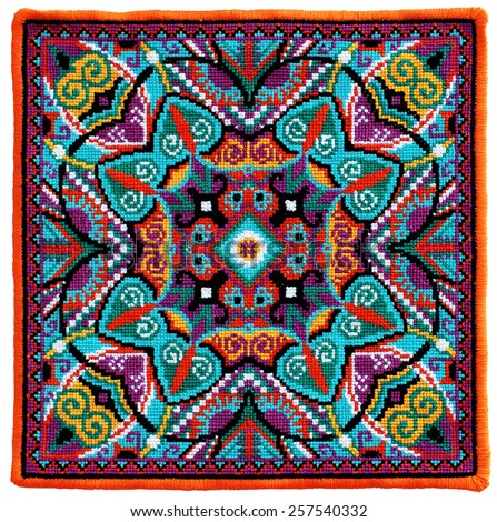 Ukrainian authentic embroidery carpet, handmade cross-stitch geometric artwork - stock vector