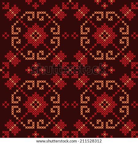 Ukrainian Embroidery. Seamless Pattern - stock vector