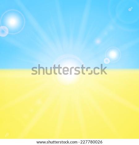 Ukrainian flag and sun  - stock vector