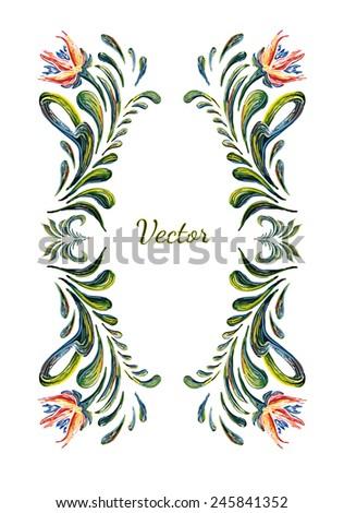 Ukrainian folk art. Ukrainian national motives. Vector illustrations. Hand drawn illustration in Ukrainian folk style. Beautiful vector frame with flowers in vintage style. - stock vector