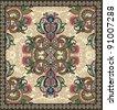 Ukrainian Oriental Floral Ornamental Seamless Carpet Design - stock photo