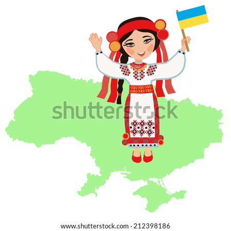 Ukrainian woman with the flag of Ukraine on a background map of Ukraine - stock vector