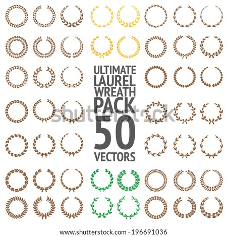 Ultimate Laurel Wreath Pack 50 Vectors - stock vector