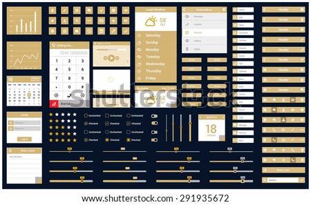 Ultimate Mobile Retina ready ui kit | Mobile application design flow - elements: header, icon button, app, slider, scroll, notes - flat Mobile web Ui elements for mobile or tablet and web application - stock vector