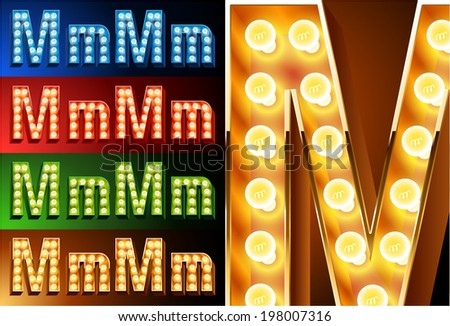 Ultimate realistic lamp board alphabet. Condensed style. Left and right options. Multicolored. Letter m - stock vector