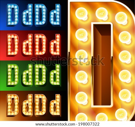 Ultimate realistic lamp board alphabet. Condensed style. Left and right options. Multicolored. Letter d - stock vector