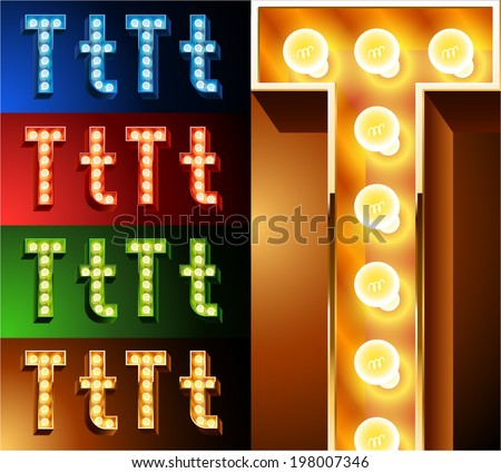Ultimate realistic lamp board alphabet. Condensed style. Left and right options. Multicolored. Letter t - stock vector