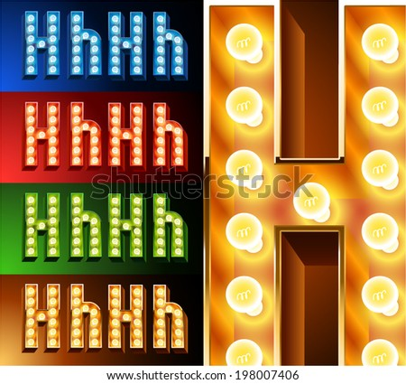 Ultimate realistic lamp board alphabet. Condensed style. Left and right options. Multicolored. Letter h - stock vector