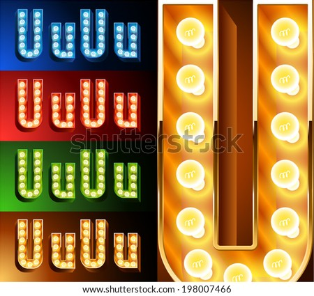 Ultimate realistic lamp board alphabet. Condensed style. Left and right options. Multicolored. Letter u - stock vector