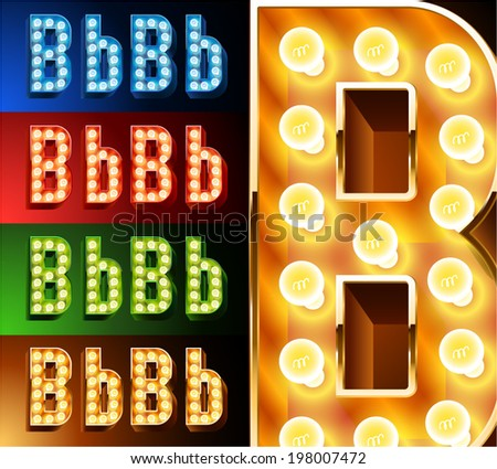 Ultimate realistic lamp board alphabet. Condensed style. Left and right options. Multicolored. Letter b - stock vector