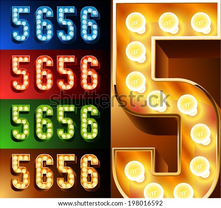 Ultimate realistic lamp board alphabet. Condensed style. Left and right options. Multicolored. Numbers 5 - 6 - stock vector