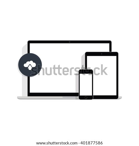 Ultimate web design electronic devices, modern laptop, phone, tablet on a white background - stock vector