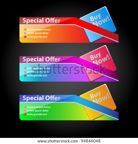 Ultra color Banner Set - stock vector