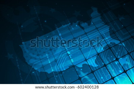 Ultra HD Blue Abstract Sci Fi Stock Vector Royalty Free - Us map wallpaper desktop