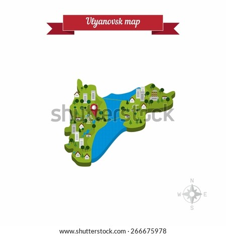 Ulyanovsk Russia Map Flat Style Design Stock Vector 266675978