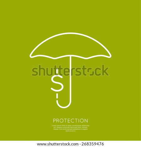 Umbrella and coin. The concept of protection of funds, assets, investments and profits. minimal. Outline. - stock vector