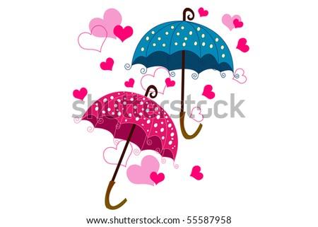 umbrella and love - stock vector