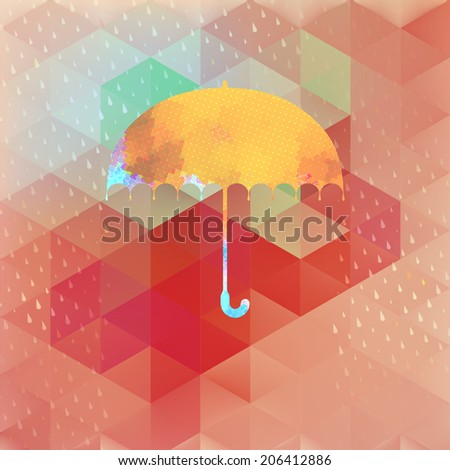 Umbrella and rain drops with abstract geometric shapes.  - stock vector