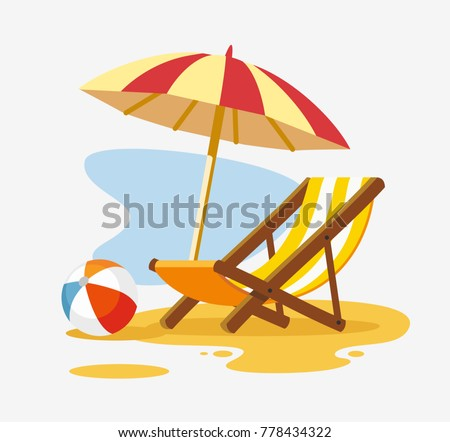Umbrella and sun lounger on the beach. Vector illustration