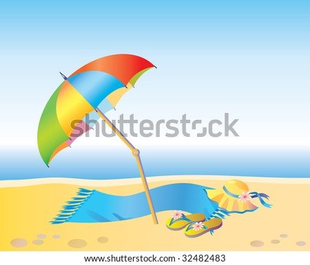 Umbrella and towel on the beach - vector illustration