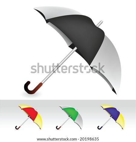 umbrella collection - stock vector