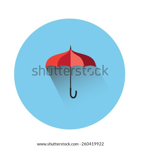 Umbrella flat icon isolated on blue background  - stock vector