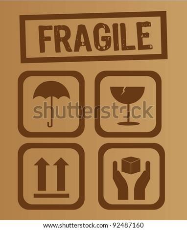 umbrella,glass, arrow and hands box signs vector illustration - stock vector