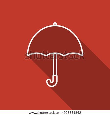 umbrella icon with long shadow - stock vector