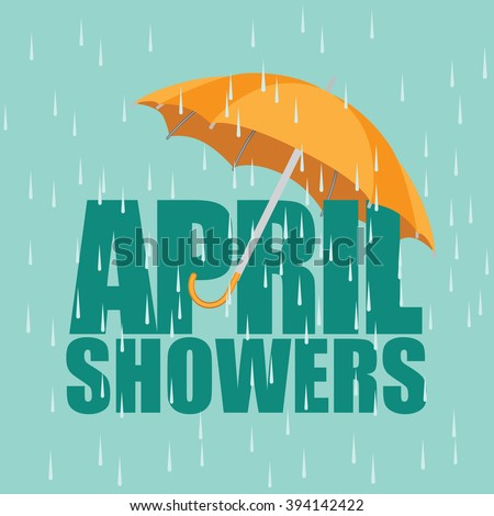Umbrella in the rain. April showers. EPS 10 vector. - stock vector