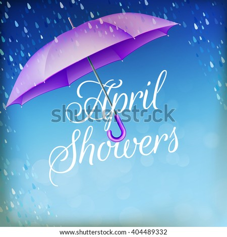 Umbrella in the rain. April showers. EPS 10 vector file included - stock vector