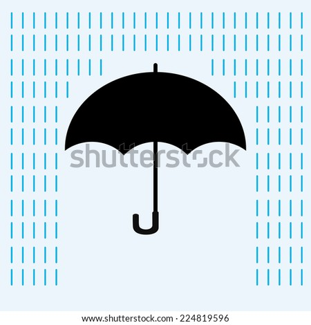 Umbrella in the rain, vector illustration - stock vector