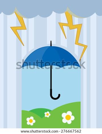 umbrella on rain concept, thunders - stock vector