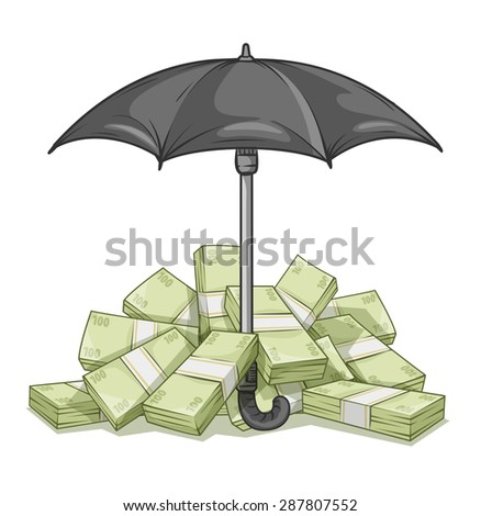 Umbrella protecting bundles with money. Eps10 vector illustration. Isolated on white background - stock vector