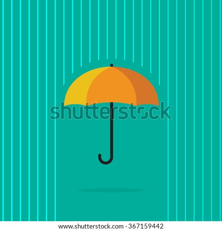 Umbrella rain vector illustration, heavy raining with abstract water lines background, autumn season, concept of insurance symbol, protection, waterproof label modern flat design isolated on green - stock vector