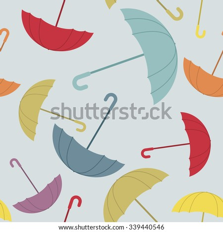 Umbrella seamless pattern. Many of colour opened umbrellas. Cute texture protection from rain. Retro fabric ornament.