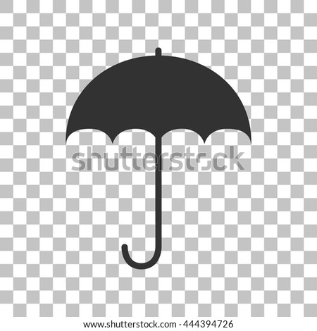 Umbrella sign icon. Rain protection symbol. Flat design style. Dark gray icon on transparent background. - stock vector