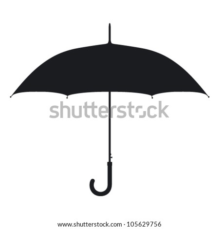 Umbrella. Silhouette on a white background.