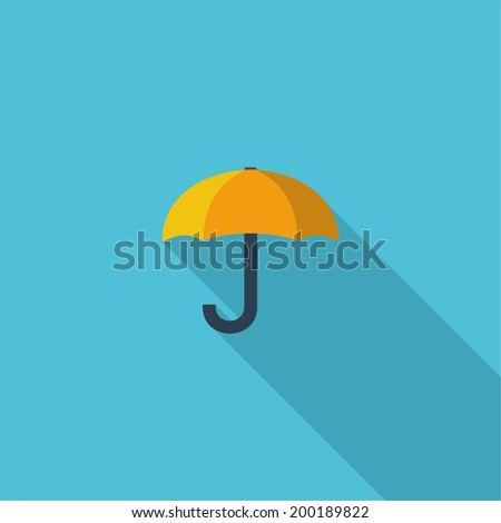 Umbrella symbol. Vector illustration of flat color icon with long shadow.   - stock vector