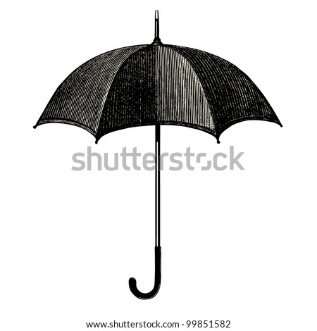Umbrella  - vintage engraved illustration - Catalog of a French department store - Paris 1909 - stock vector