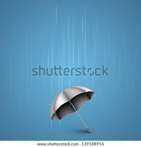 Umbrella with heavy rain - stock vector
