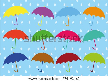 Umbrellas Vector and Rain Pattern