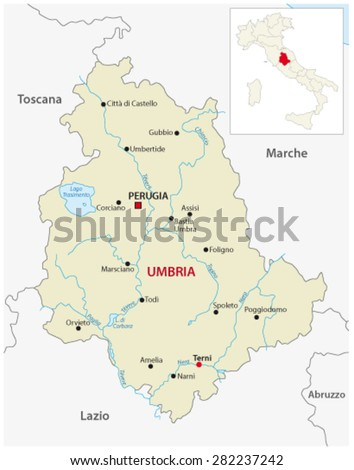 Umbria Map Outline Map Italy Stock Vector 282237242 Shutterstock