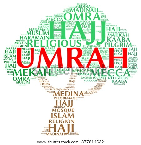 Umrah info-text (word cloud) .Umrah is one of Islamic teaching where pilgrims go to Mecca as obedient to their god.