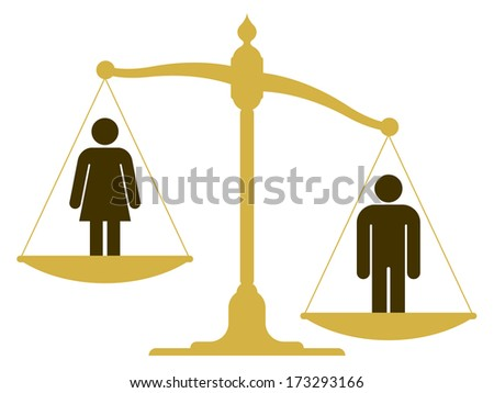 Unbalanced old fashioned pan scale with a man and woman showing the inequality of the sexes with the male having a heavier weighting illustration - stock vector
