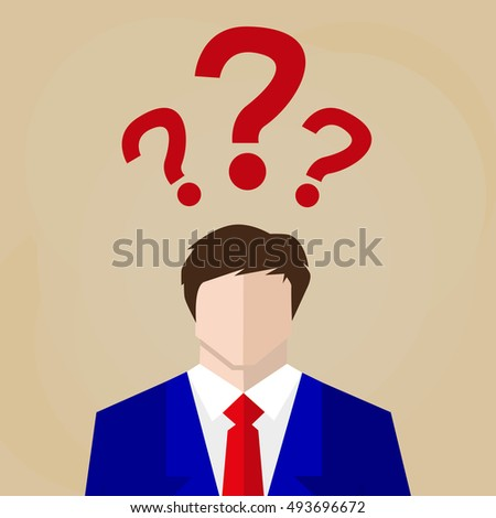 uncertain businessman in suit. sign. Question mark, Question words vector concept